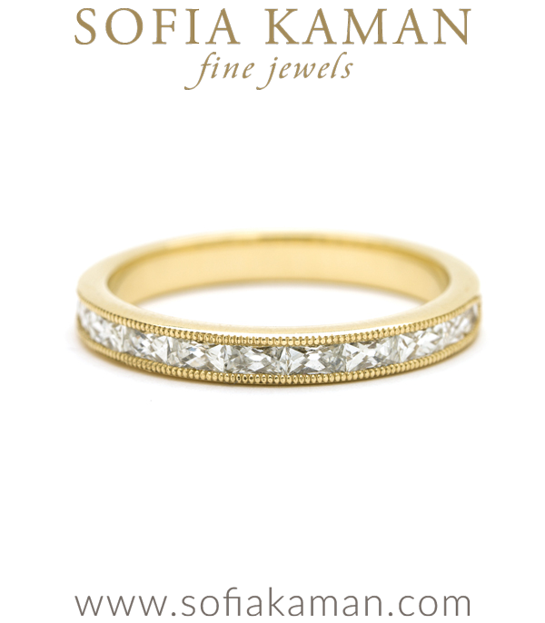 14K Gold Channel Set French Baguette Diamond Milgrain Bohemian Wedding Band designed by Sofia Kaman handmade in Los Angeles using our SKFJ ethical jewelry process.