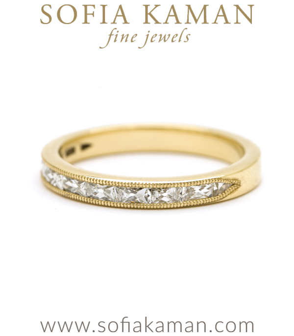 Channel Set French Baquette Diamond Stacking Band