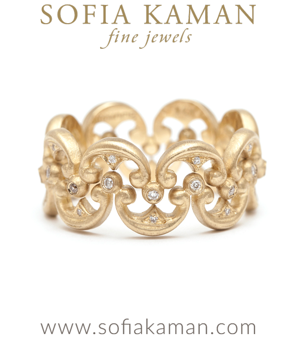 Gold And Diamond Scalloped Crown Stacking Band