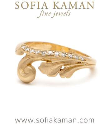 14K Matte Gold Diamond Scrolling Fleur Stacking Band designed by Sofia Kaman handmade in Los Angeles