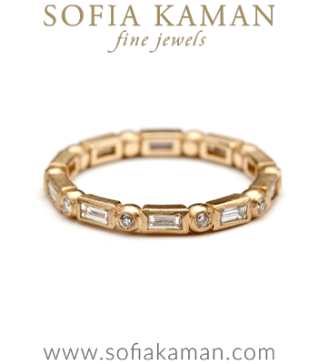 Petite Baguette Cut Diamond Bohemian Wedding Band designed by Sofia Kaman handmade in Los Angeles