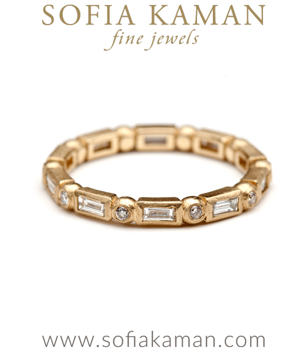 Gold Diamond Baguette Small Diamond Accented Bubble Band Stacking Ring