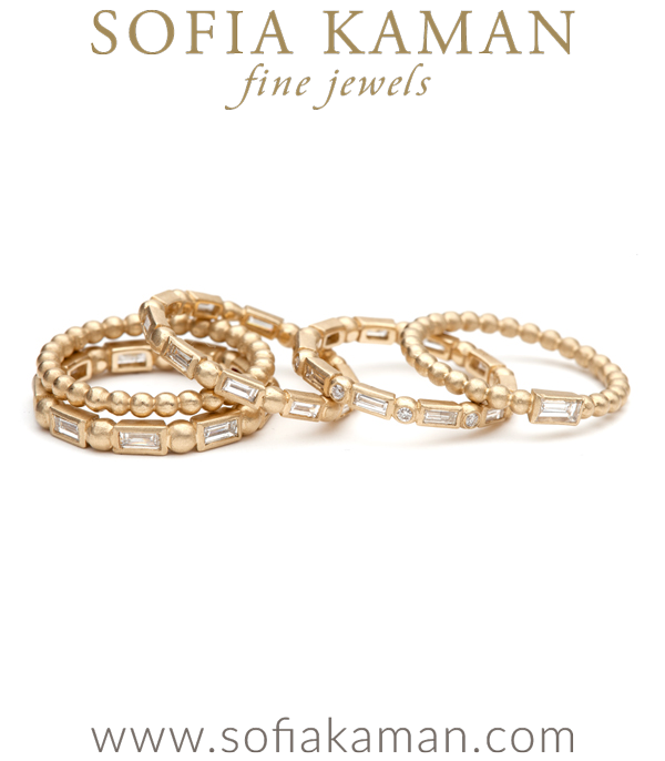 Gold Diamond Baguette Bubble Band Stacking Ring