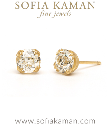 Vintage Inspired Diamond Stud Earrings for Engagement Rings designed by Sofia Kaman handmade in Los Angeles