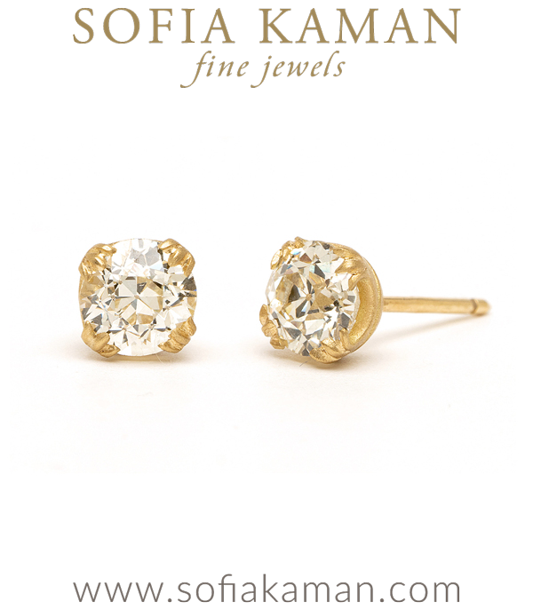 Vintage Inspired Diamond Stud Earrings for Engagement Rings designed by Sofia Kaman handmade in Los Angeles using our SKFJ ethical jewelry process.