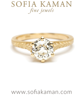 One of a Kind Old Mine Cut Diamond Solitaire Engagement Rings designed by Sofia Kaman handmade in Los Angeles
