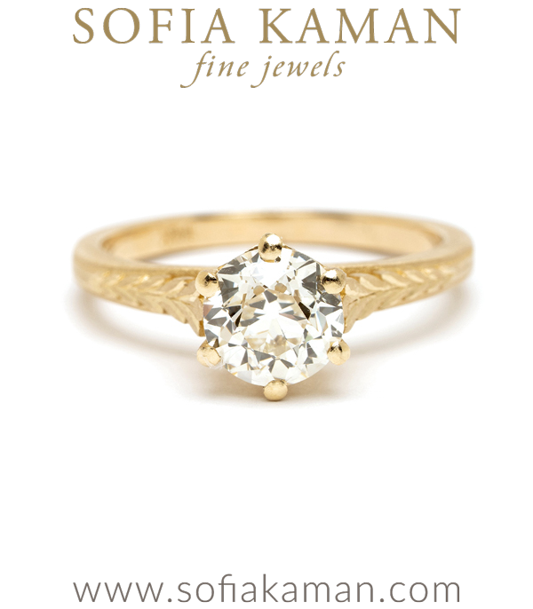 One of a Kind Old Mine Cut Diamond Solitaire Engagement Rings designed by Sofia Kaman handmade in Los Angeles using our SKFJ ethical jewelry process.