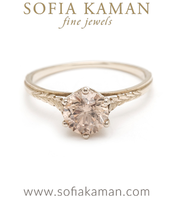 Gold Engagement Rings Champagne Diamond Bohemian Engagement Ring designed by Sofia Kaman handmade in Los Angeles