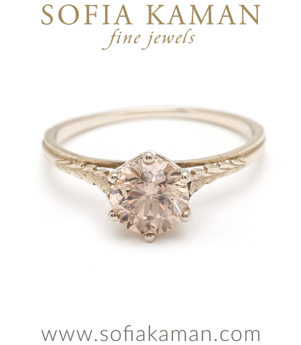 Champagne Diamond Bohemian Engagement Ring designed by Sofia Kaman handmade in Los Angeles using our SKFJ ethical jewelry process.