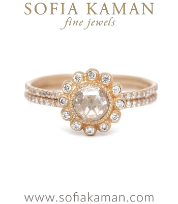 Gold Engagement Rings Bohemian Rose Cut Diamond Engagement Ring designed by Sofia Kaman handmade in Los Angeles