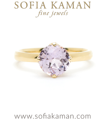 Spikey Crown Pink Sapphire Center Pave Diamond Boho Engagement Ring designed by Sofia Kaman handmade in Los Angeles