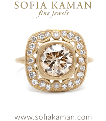 Vintage Style Champagne Diamond Bohemian Engagement Ring designed by Sofia Kaman handmade in Los Angeles