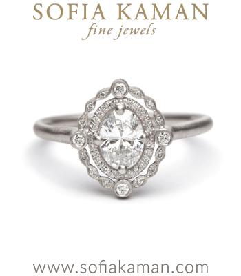 Platinum Diamond Halo One of a Kind Bohemian Engagement Ring designed by Sofia Kaman handmade in Los Angeles