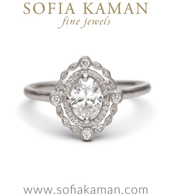 platinum diamond halo bohemian engagement ring designed by sofia kaman handmade in los angeles - Oval Wedding Rings