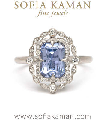 Vintage Inspired Blue Sapphire Double Diamond Halo Platinum Boho Engagement Ring made in Los Angeles