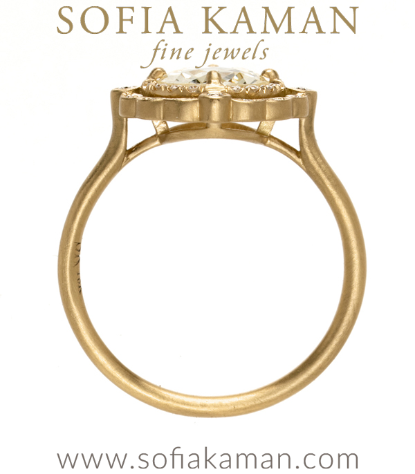 14k Matte Gold Champagne Diamond Engagement Ring