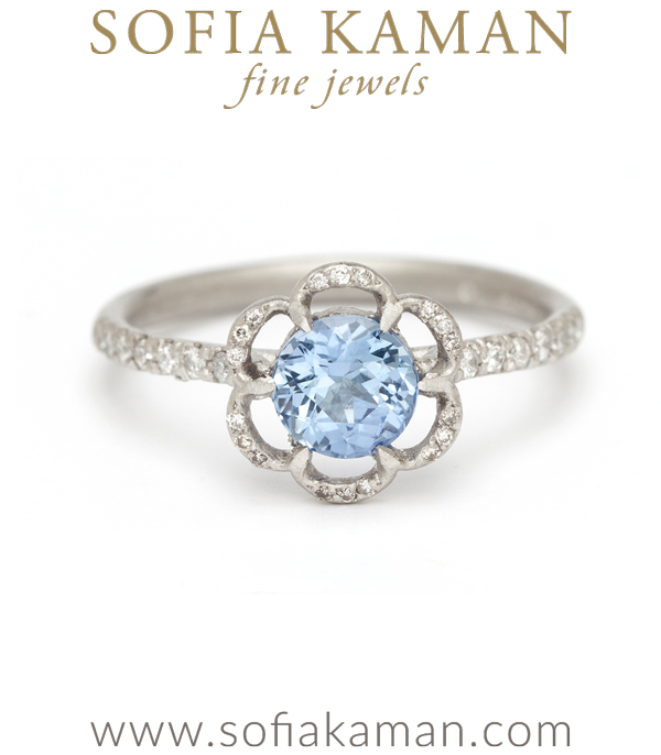 Forget Me Not Ring With Diamond Pave Band
