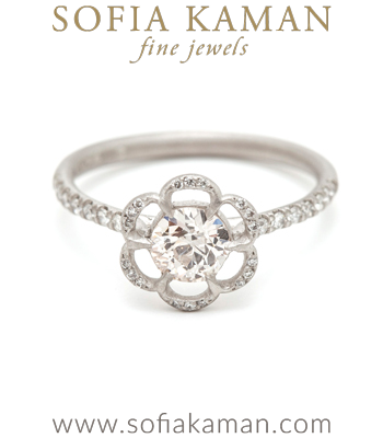 Pave Diamond Solitaire Bohemian Engagement Ring designed by Sofia Kaman handmade in Los Angeles