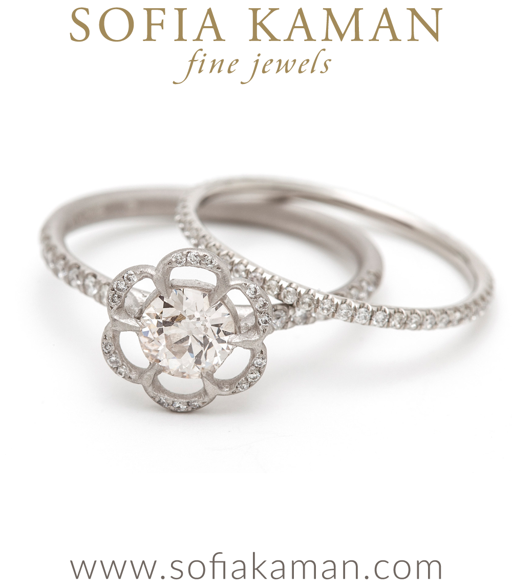 Engagement Rings Poppy Ring with Diamond Pave Band