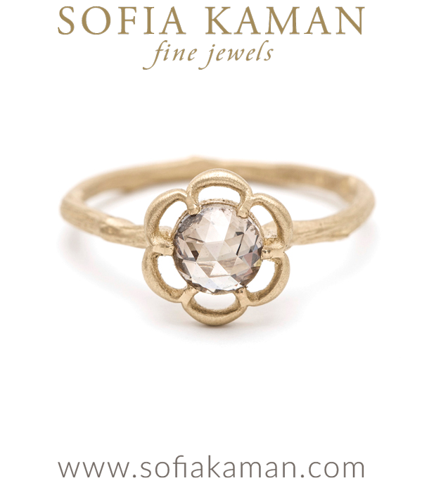 Rose Cut Champagne Diamond Twig Bohemian Engagement Ring designed by Sofia Kaman handmade in Los Angeles using our SKFJ ethical jewelry process. This piece has been sold and is in the SK Archive.