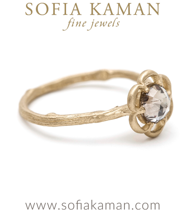 Gold Rose Cut Diamond Flower Twig Band Engagement Stacking Ring