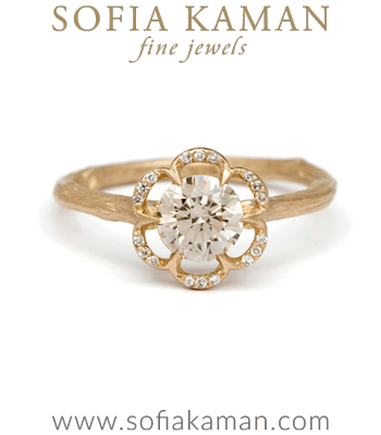 Matte Gold Champagne Diamond Twig Band Pave Diamond Poppy Boho Engagement Ring made in Los Angeles