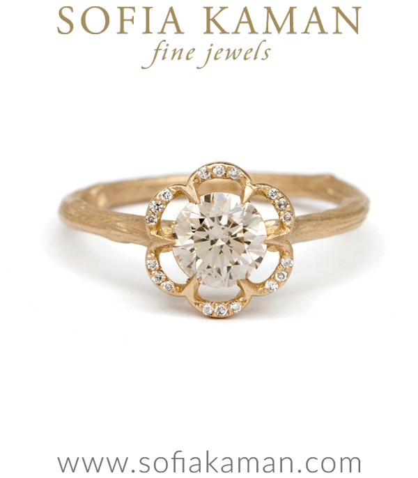 Matte Gold Champagne Diamond Twig Band Pave Diamond Poppy Boho Engagement Ring designed by Sofia Kaman handmade in Los Angeles using our SKFJ ethical jewelry process.