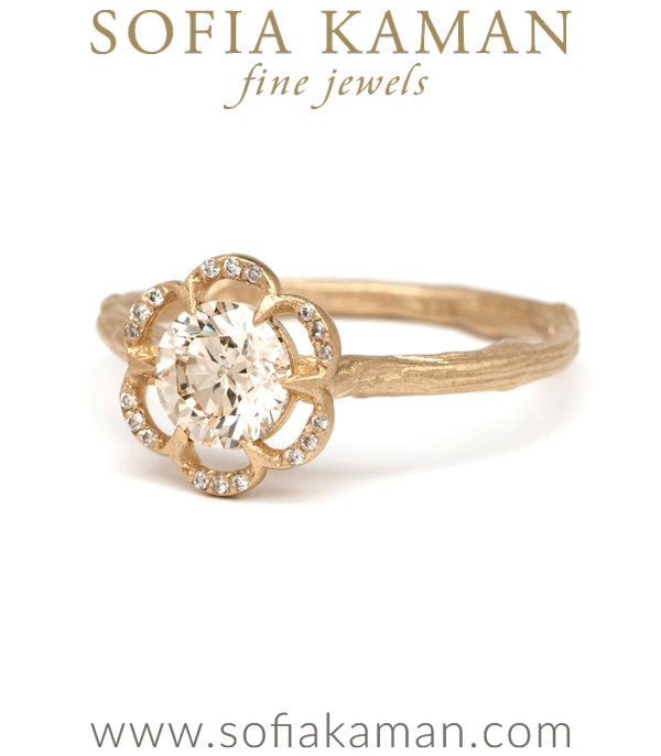 Champagne Diamond Solitaire Pave Lace Poppy Boho Engagement Ring