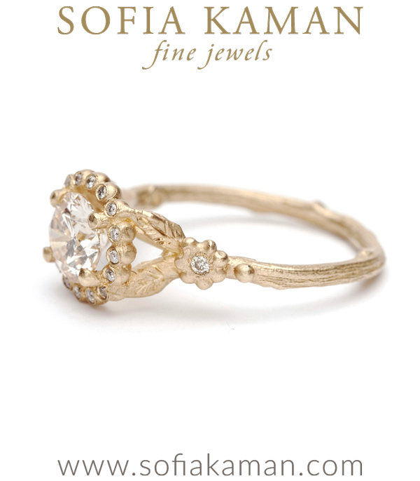 Unique Champagne Diamond Twig Bohemian Engagement Ring made in Los Angeles