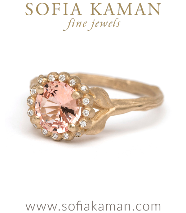 Matte Gold Brilliant Cut Peach Sapphire Dew Drop Diamond Halo Twig Band Boho Engagement Ring designed by Sofia Kaman handmade in Los Angeles using our SKFJ ethical jewelry process. This piece has been sold and is in the SK Archive.