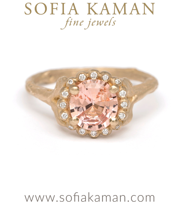 Matte Gold Brilliant Cut Peach Sapphire Dew Drop Diamond Halo Twig Band Boho Engagement Ring made in Los Angeles