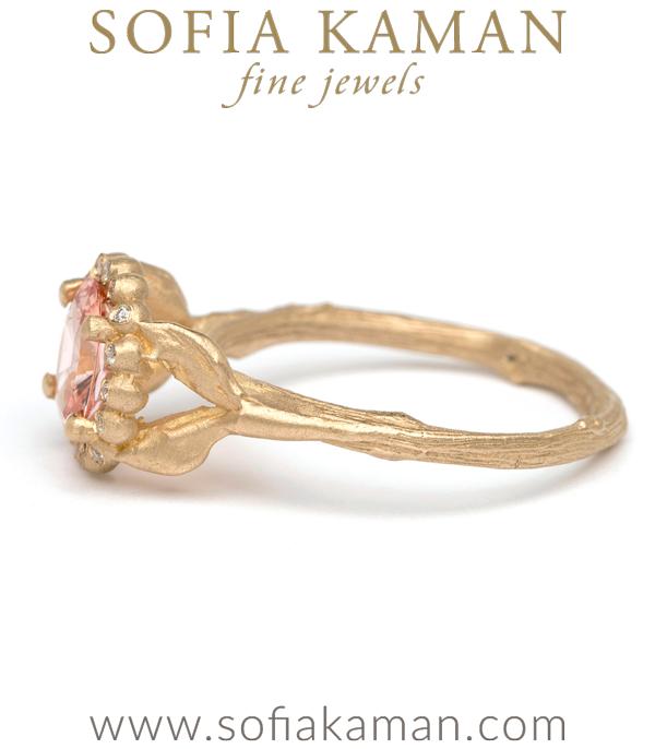 Matte Gold Peach Sapphire Boho Engagement Ring