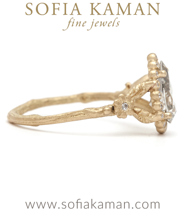 Unique Pear Shape Diamond Bohemian Twig Engagement Ring made in Los Angeles