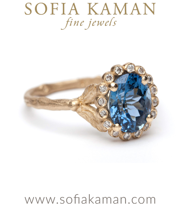 Natural Blue Sapphire Bohemian Twig Engagement Ring made in Los Angeles