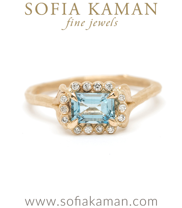 18K Matte Yellow Gold Emerald Cut Aquamarine Natural Inspired Diamond Halo Twig Band Boho Ring designed by Sofia Kaman handmade in Los Angeles using our SKFJ ethical jewelry process.