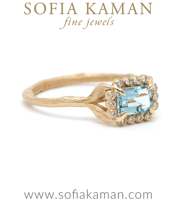 Boho Twig Band Aquamarine Stacking Ring