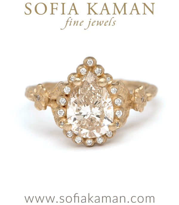 Matte Gold Pear Cut Champagne Diamond Twig Band Dew Drop Diamond Halo Daisy Accent Boho Engagement Ring designed by Sofia Kaman handmade in Los Angeles using our SKFJ ethical jewelry process. This piece has been sold and is in the SK Archive.