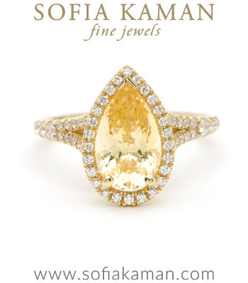 18K Gold Pear Shaped Yellow Sapphire Pave Diamond Bohemian Engagement Ring designed by Sofia Kaman handmade in Los Angeles