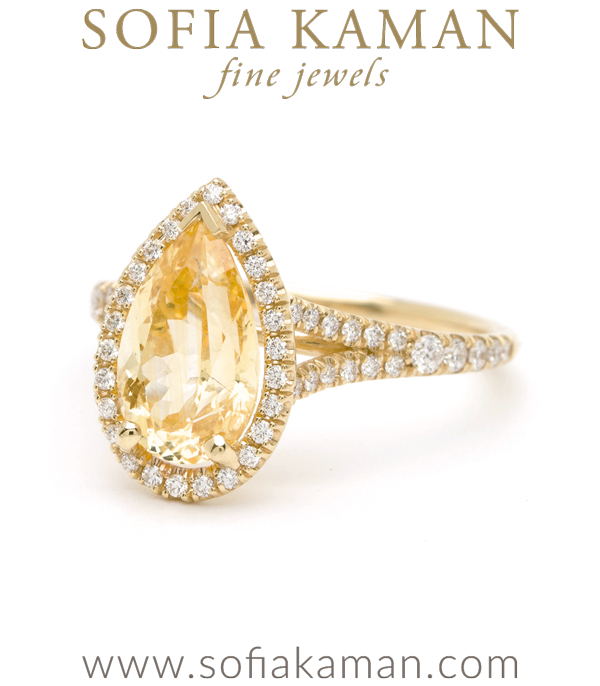 Pave Diamond Yellow Sapphire Engagement Ring