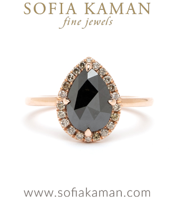 Bellini Pear Shaped Black Diamond Low Profile Unique Engagement Ring for Boho Brides - designed by Sofia Kaman handmade in Los Angeles