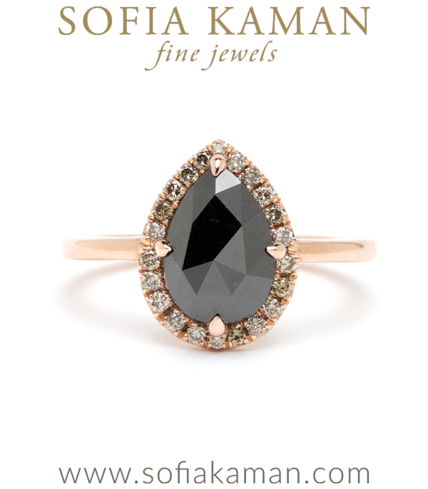Bellini Pear Shaped Black Diamond Low Profile Unique Engagement Ring for Boho Brides - designed by Sofia Kaman handmade in Los Angeles using our SKFJ ethical jewelry process.