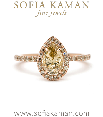 Pear Shape Rose Cut Champagne Diamond Engagement Ring designed by Sofia Kaman handmade in Los Angeles