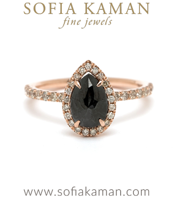 Rose Gold 14K Rose Gold Pear Shape Rose Cut Black Diamond Halo Pave Band One of a Kind Bohemian Engagement Ring designed by Sofia Kaman handmade in Los Angeles