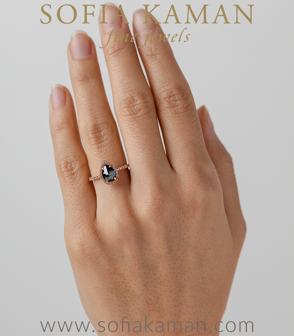 Wedding Ring Halo Engagement Ring Unique Collection Rose Gold Ring 1.12 TW Pear Black Moissanite Ring Black Diamond Engagement Ring