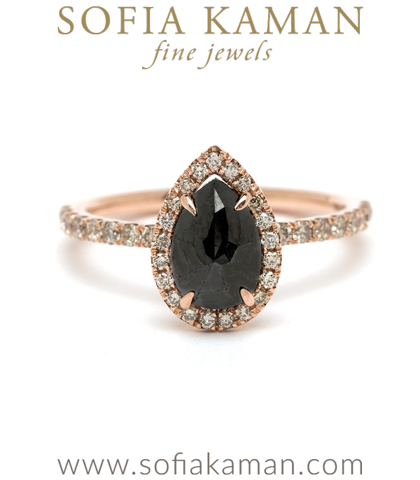 14K Rose Gold Pear Shape Rose Cut Black Diamond Halo Pave Band One of a Kind Bohemian Engagement Ring designed by Sofia Kaman handmade in Los Angeles using our SKFJ ethical jewelry process.