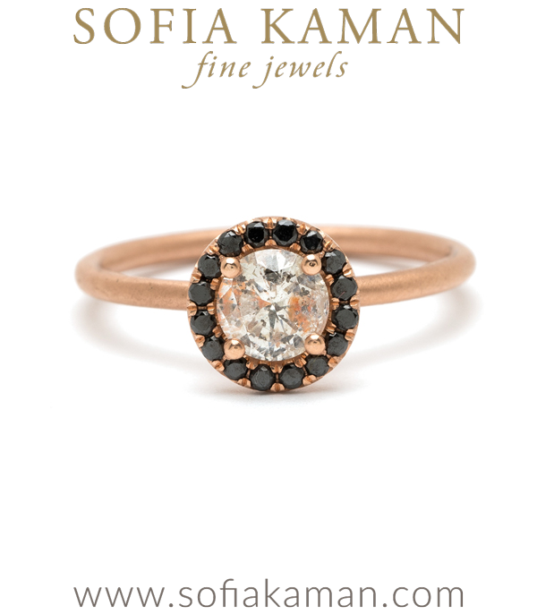 14K Rose Gold Black Diamond Halo Salt and Pepper Diamond Boho Ethical Engagement Ring designed by Sofia Kaman handmade in Los Angeles using our SKFJ ethical jewelry process.