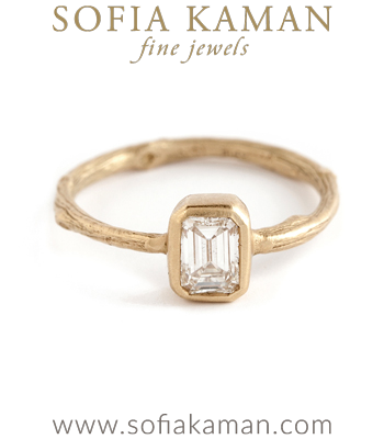 Emerald Cut Diamond Solitaire Natural Organic Twig Bohemian Engagement Ring made in Los Angeles