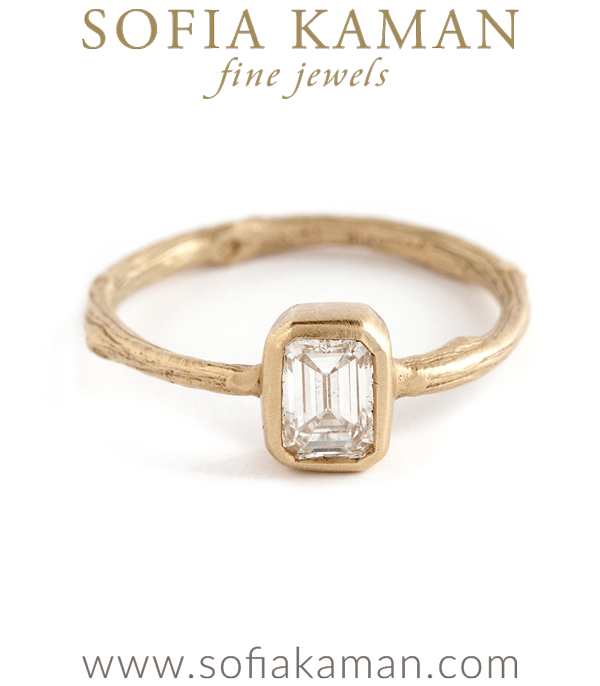 Emerald Cut Diamond Solitaire Natural Organic Twig Bohemian Engagement Ring designed by Sofia Kaman handmade in Los Angeles using our SKFJ ethical jewelry process. This piece has been sold and is in the SK Archive.