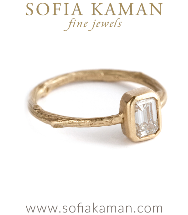 Branch Textured Emerald Cut Soliaire Engagement Ring
