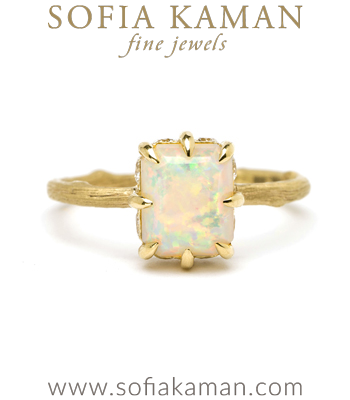 Gold Engagement Rings 18K Matte Gold One of a Kind Twig Band Australian Opal Diamond Accent Boho Engagement Ring designed by Sofia Kaman handmade in Los Angeles